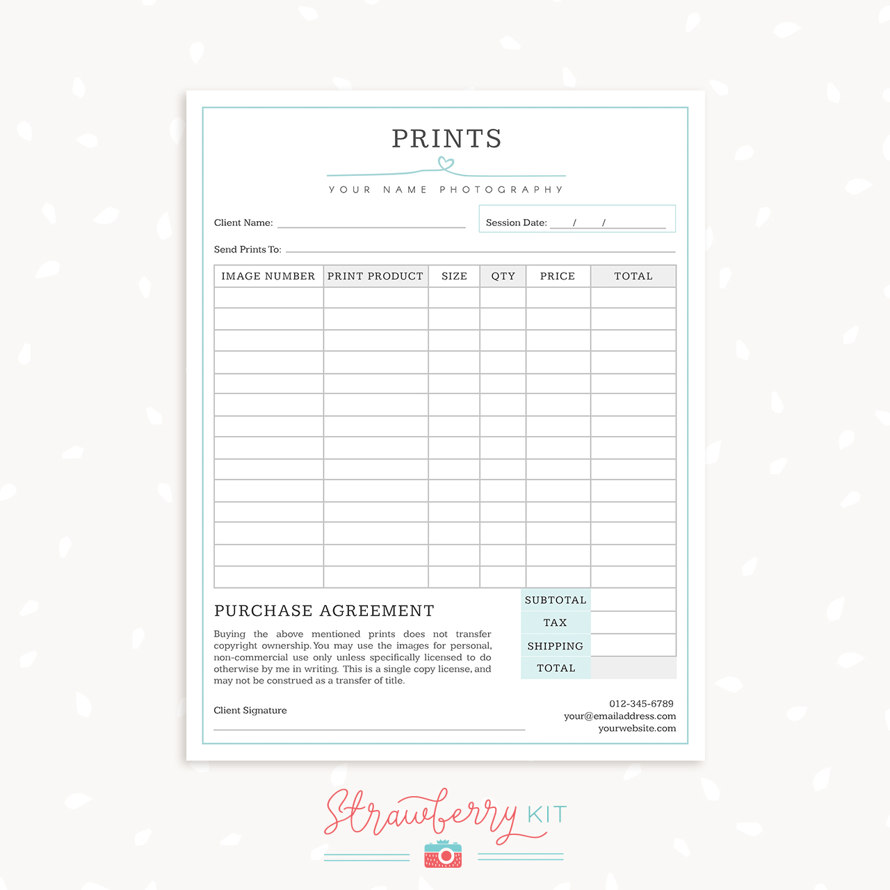 Product Order Form Template Word. Photography Form Templates Bundle Simply  Chic Strawberry Kit . Product Order Form Template Word  Product Order Form Template