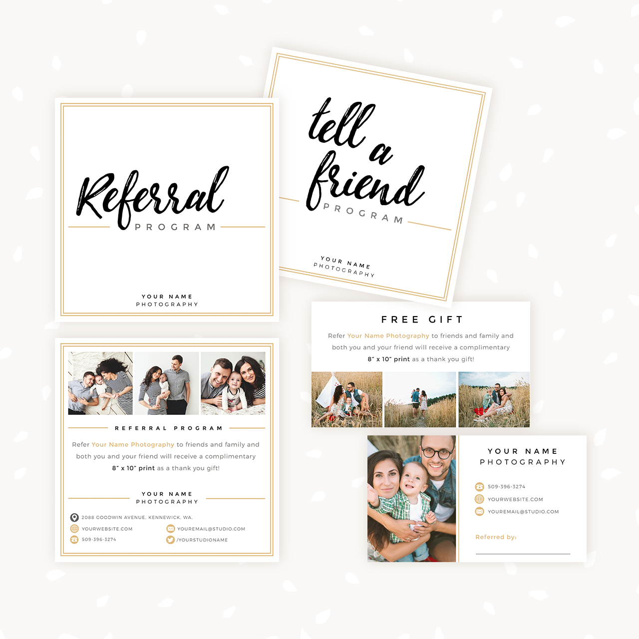 modern hand lettering referral card set