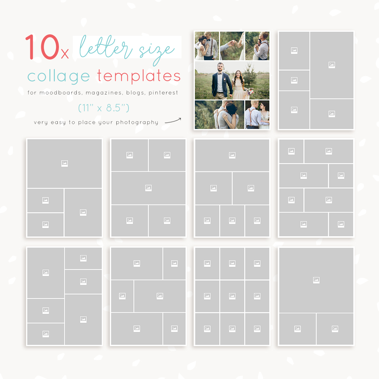 Po Collage Templates | Letter Size Collage Templates Strawberry Kit