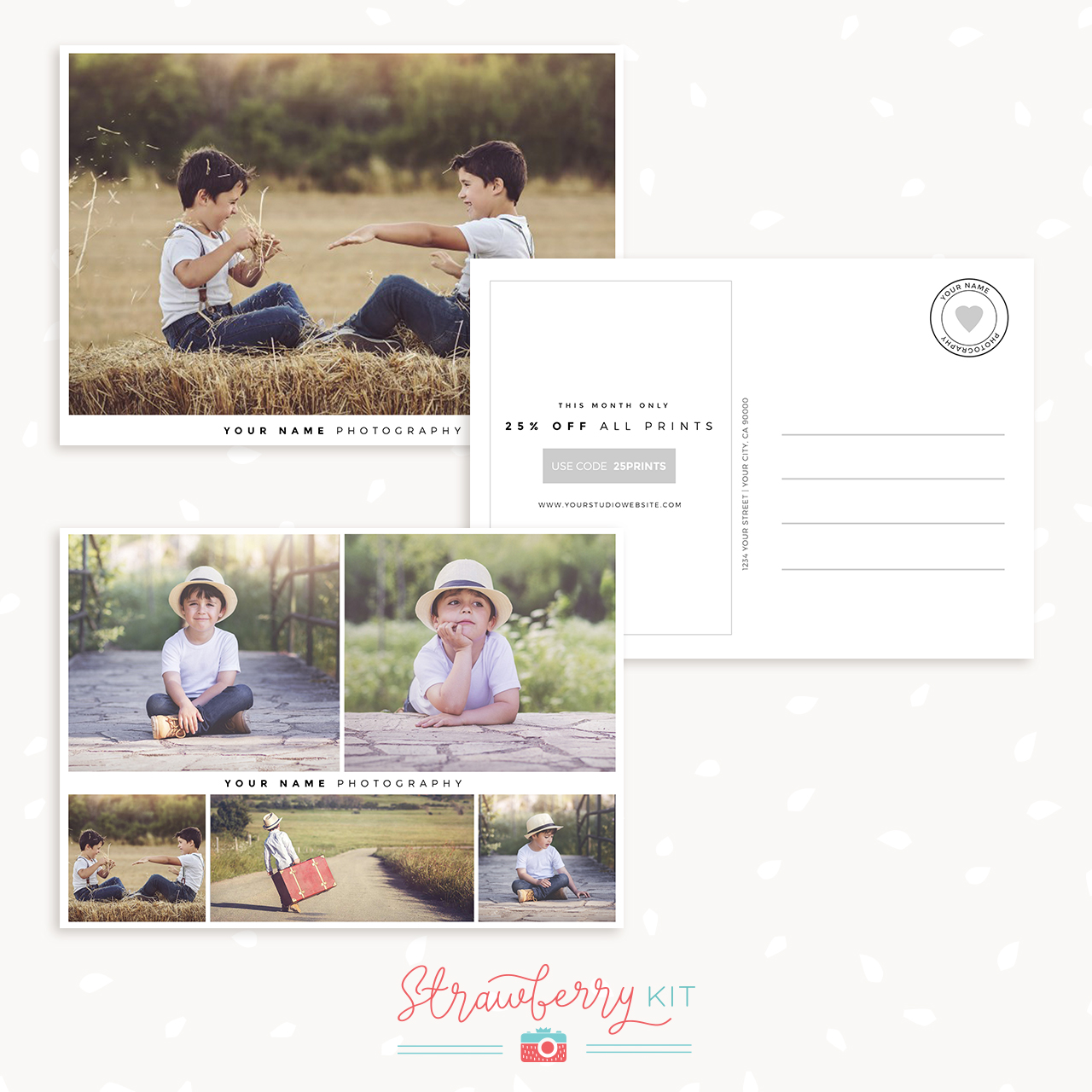 Photography Postcard Template Set Strawberry Kit - Photography postcard template