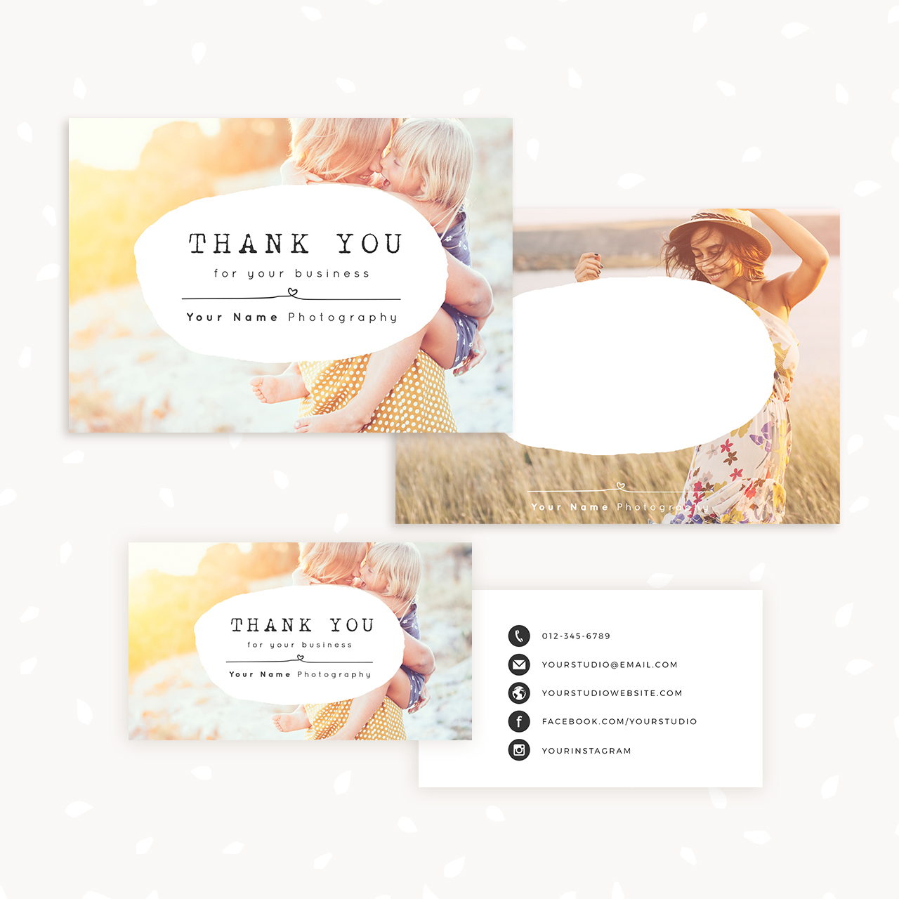 Thank You Note Card For Business Set Of Two Strawberry Kit - Thank you for your business card template