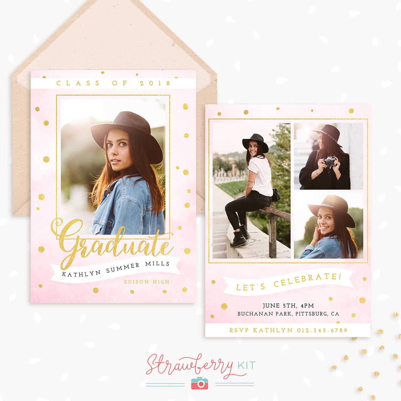 Graduation Announcement Template Pink Gold Strawberry Kit