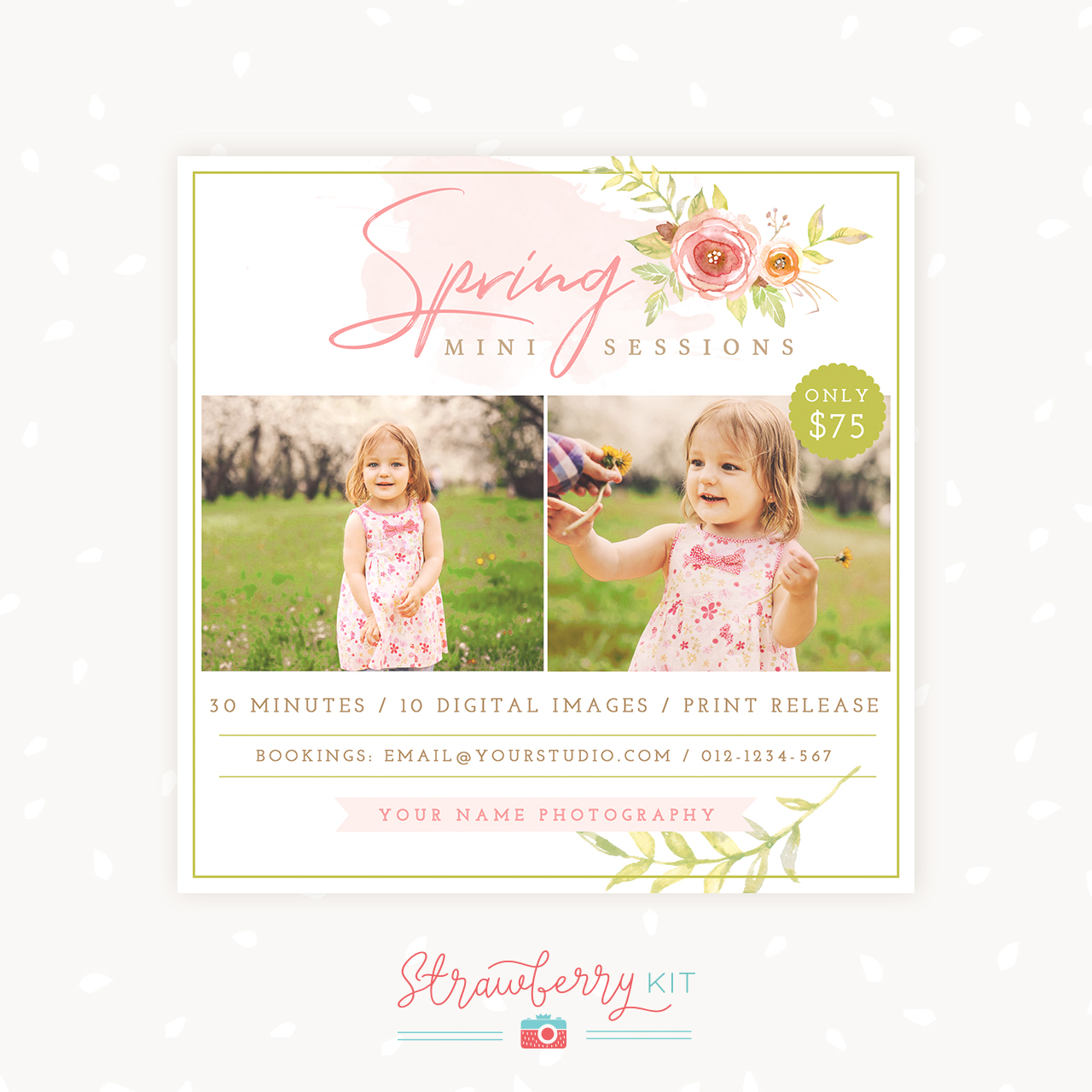Spring mini sessions template photography