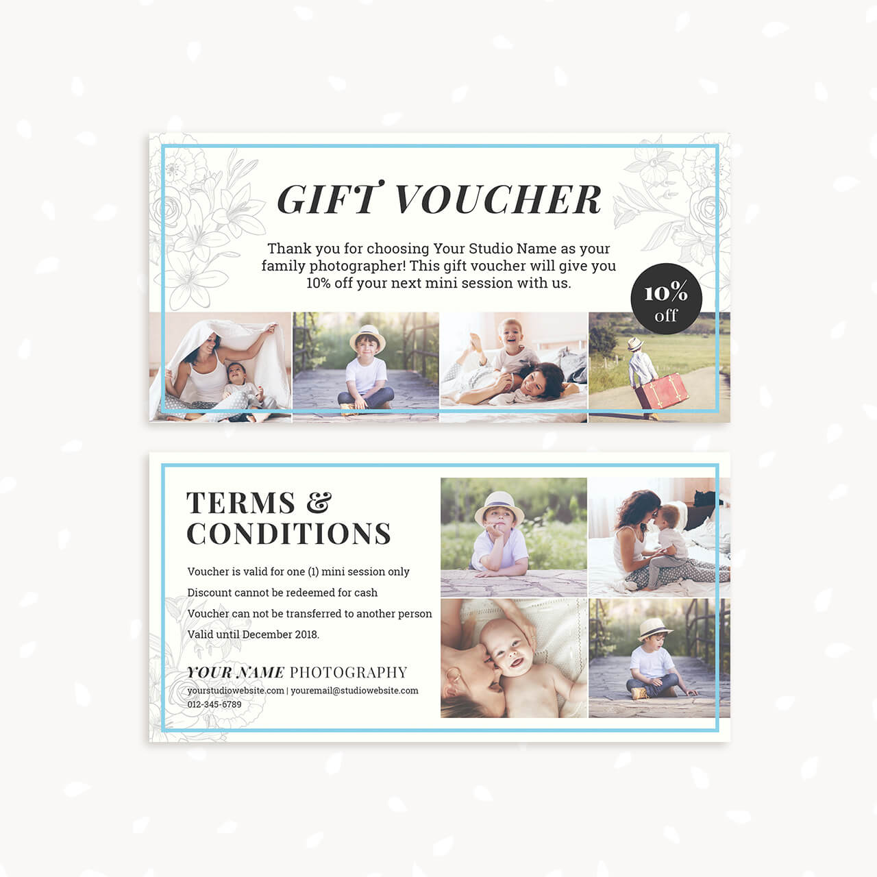 gift voucher template classic floral strawberry kit