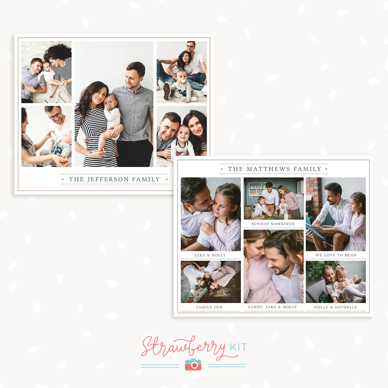 Family Collage Template For Photoshop Strawberry Kit