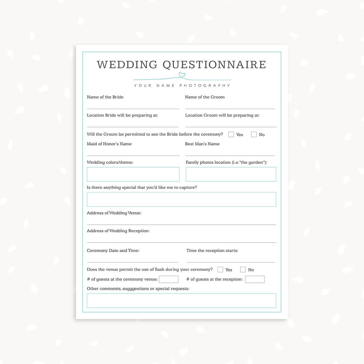 wedding photography questionnaire template
