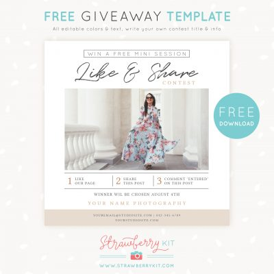 Free photography marketing template: Giveaway, Share & Win