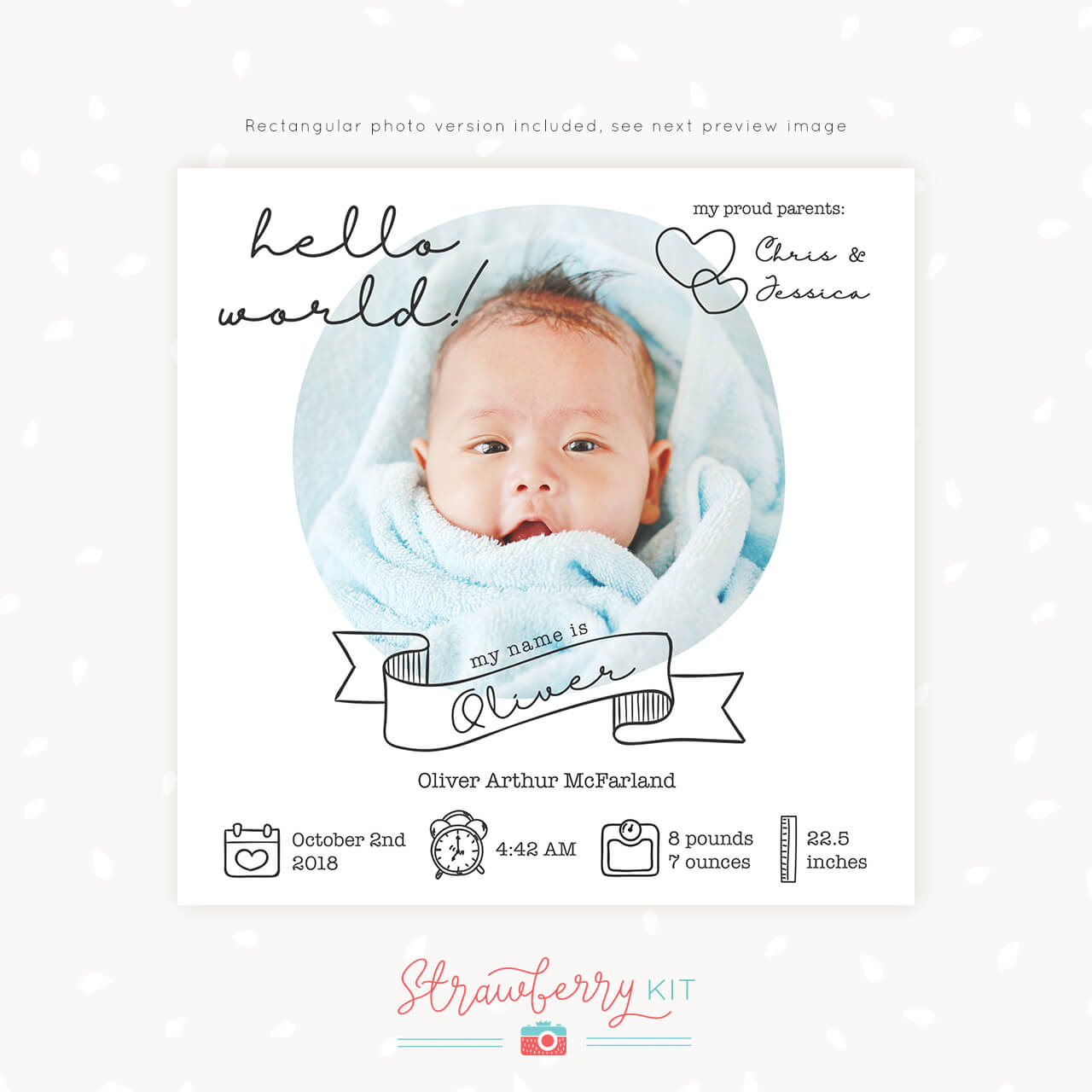 Birth Announcement Template Quot Hello World Quot Square For Print