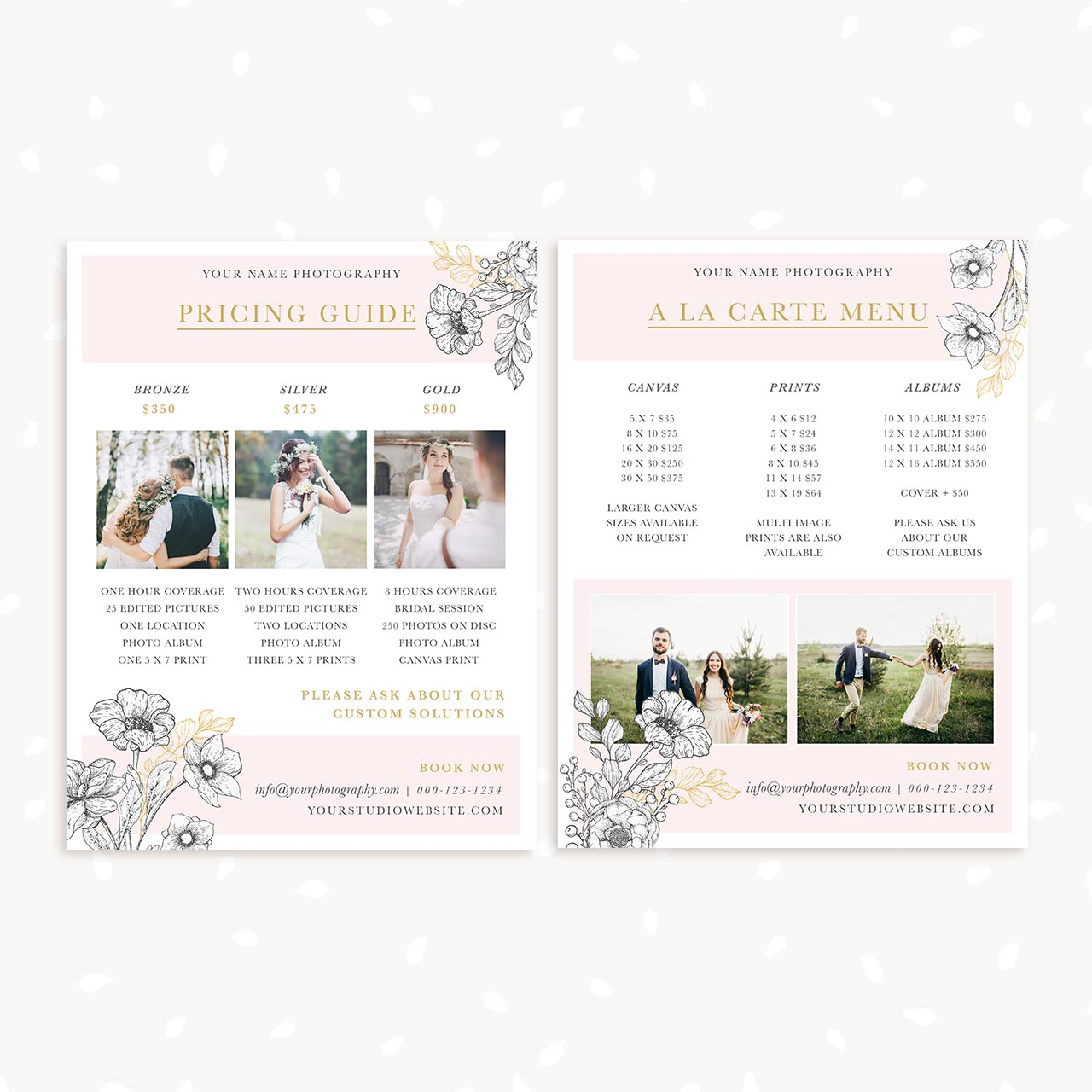 Wedding Family Photography List: Floral Wedding Price List Template