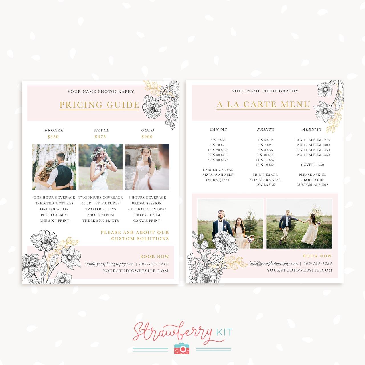 floral wedding price list template strawberry kit. Black Bedroom Furniture Sets. Home Design Ideas