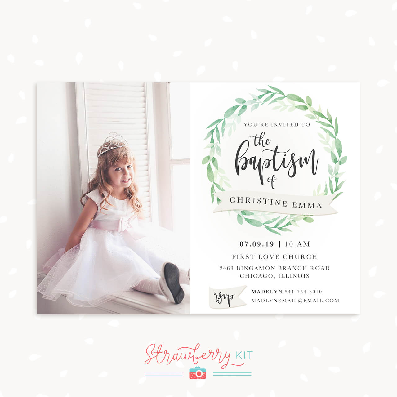 "Baptism Invitation Template with photo ""Greenery"" – Strawberry Kit"
