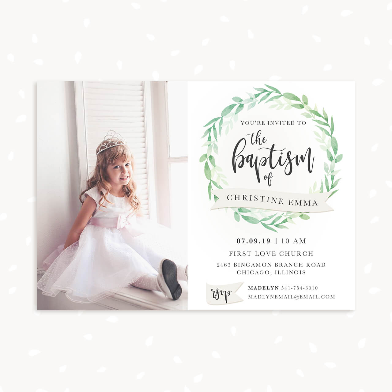 """Baptism Invitation Template with photo """"Greenery"""