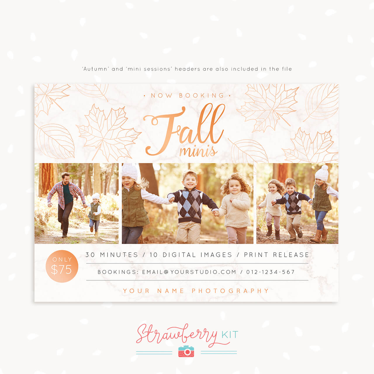Fall Mini Session Template Marble Rose Gold Strawberry Kit
