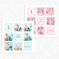 First Birthday Collage Template 12x12
