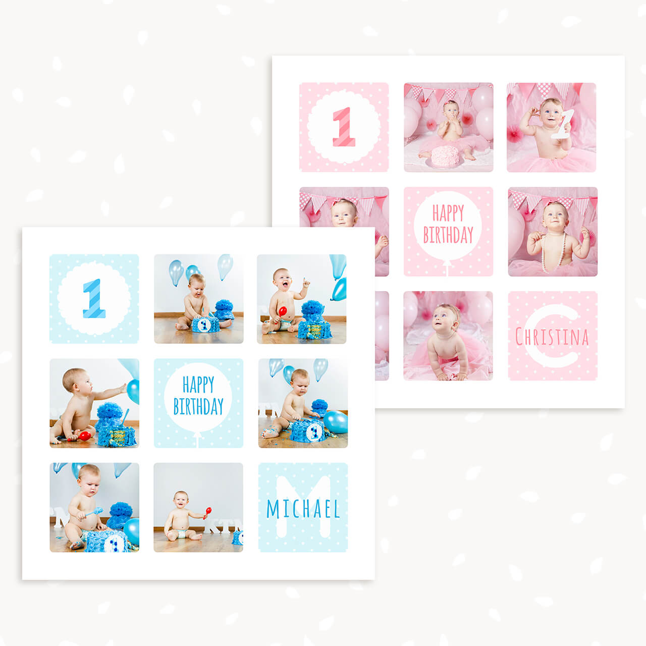 first birthday collage template 12x12 strawberry kit