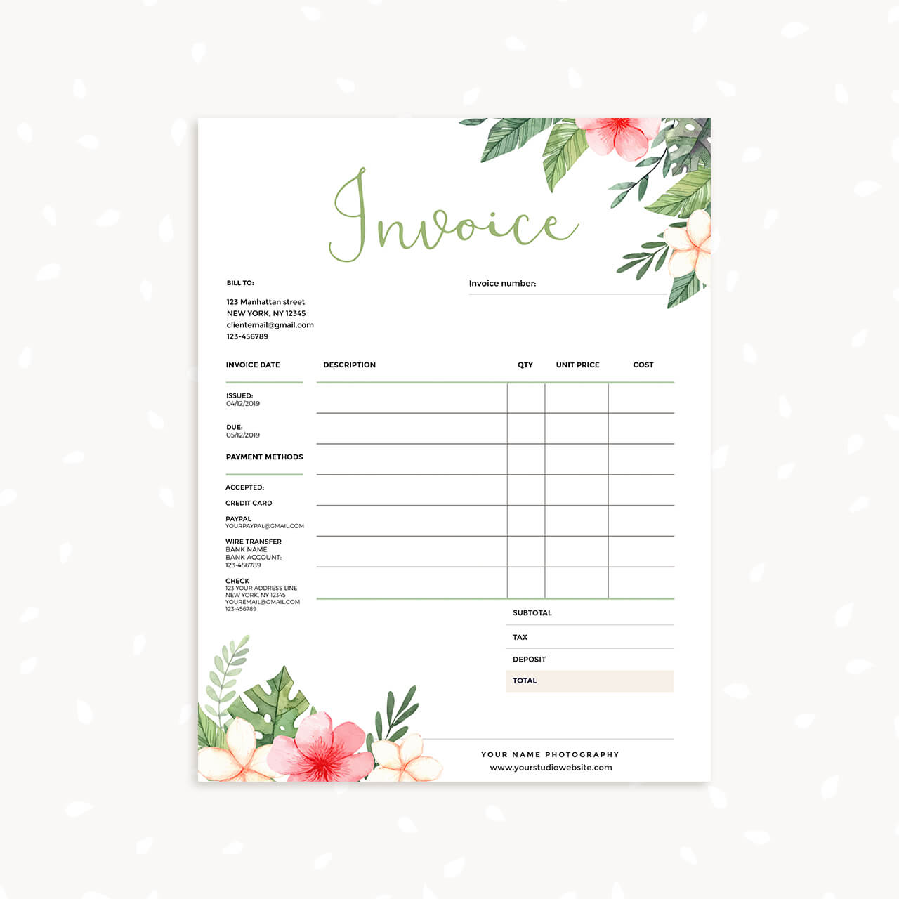 floral invoice template