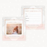 Marble Rose Gold Gift Certificate Template