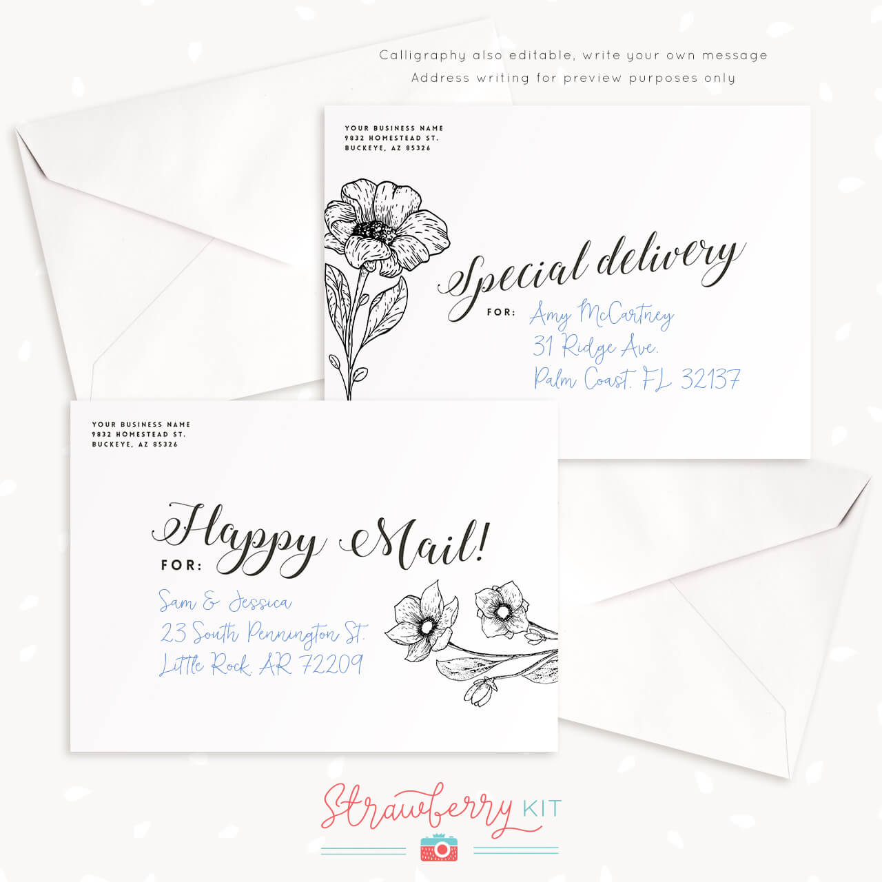 Printable Envelope Template Floral Calligraphy Strawberry Kit