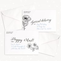 Printed Envelope Photoshop Template Hand Lettering