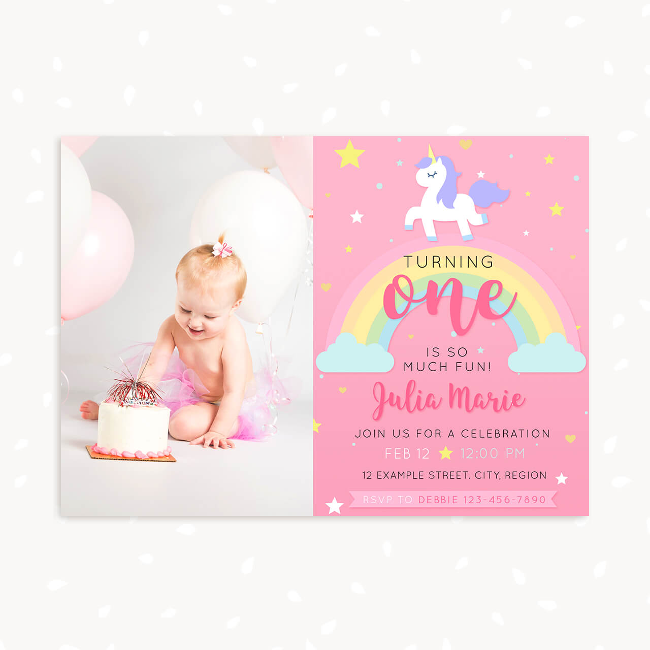Unicorn First Birthday invitation template with photo – Strawberry Kit