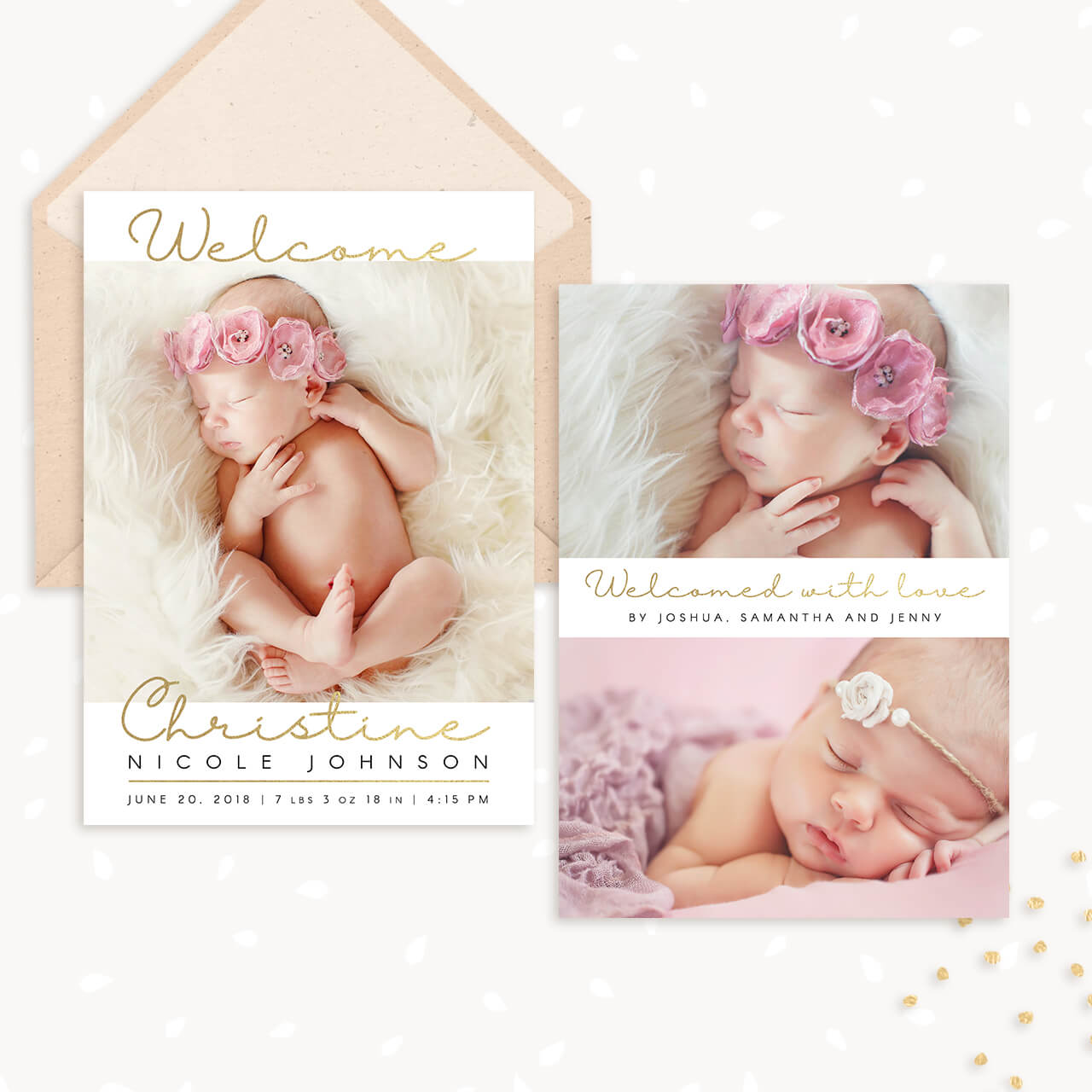 Golden Hand Lettering Birth Announcement Template