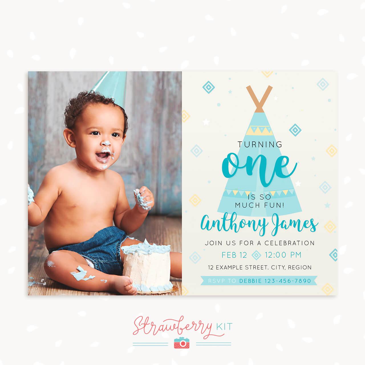 View Larger Image Boy First Birthday Invitation Boho Tribal