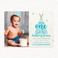 First Birthday Invitation Boy Boho Tribal