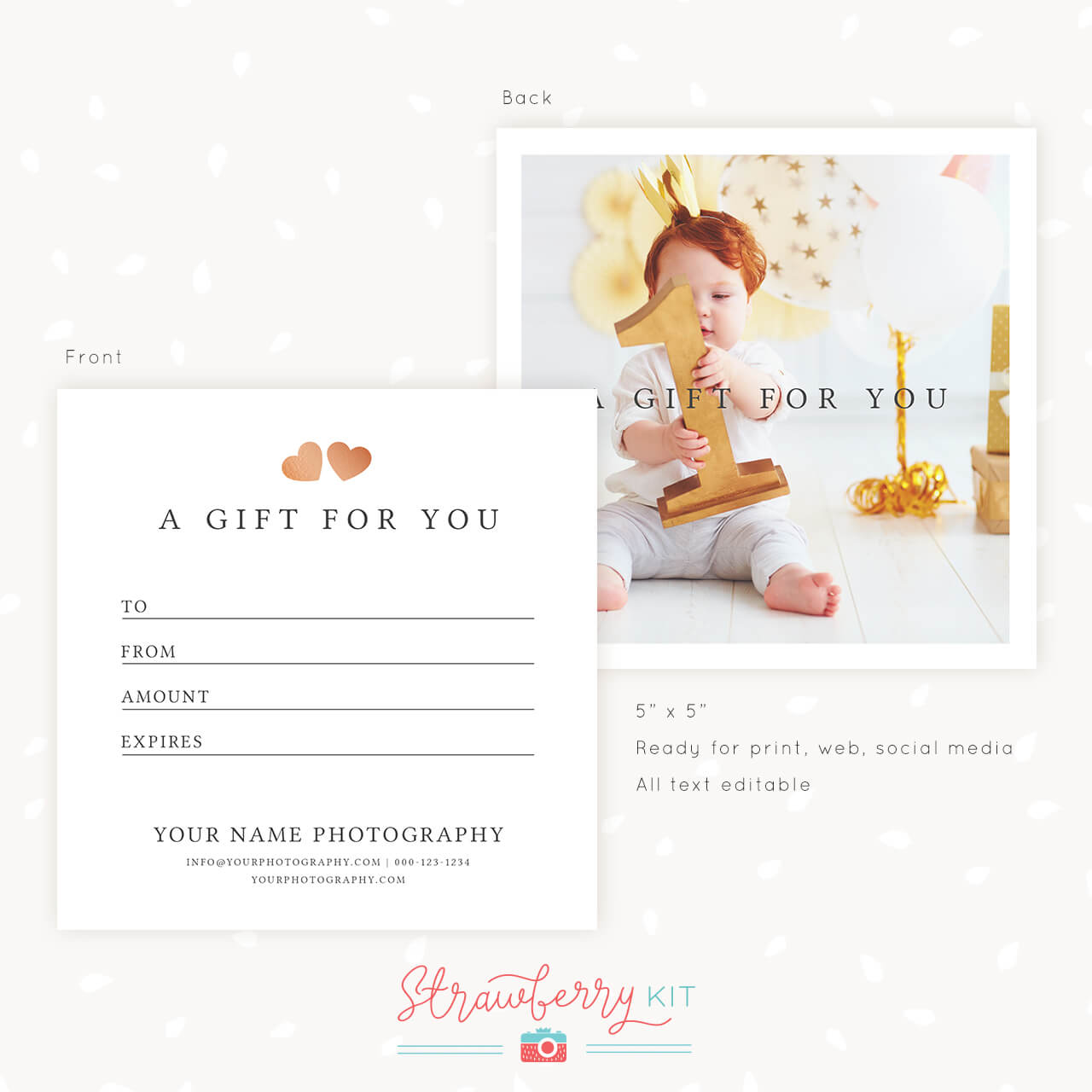Gift Certificate Template Photshop Square Classic