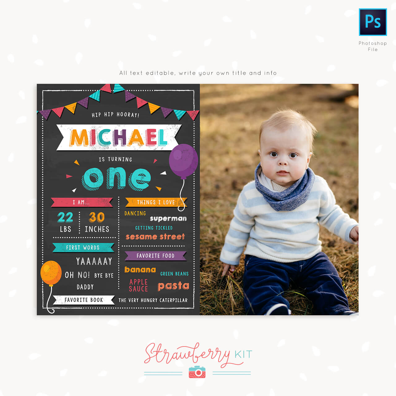 first birthday chalkboard template with photo and stats strawberry kit