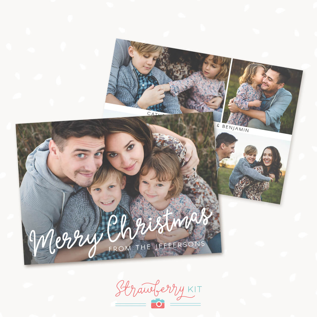 Photo Christmas Card Template Brush Lettering Strawberry Kit