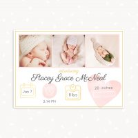 Newborn Announcement Template Card With Stats and Photos