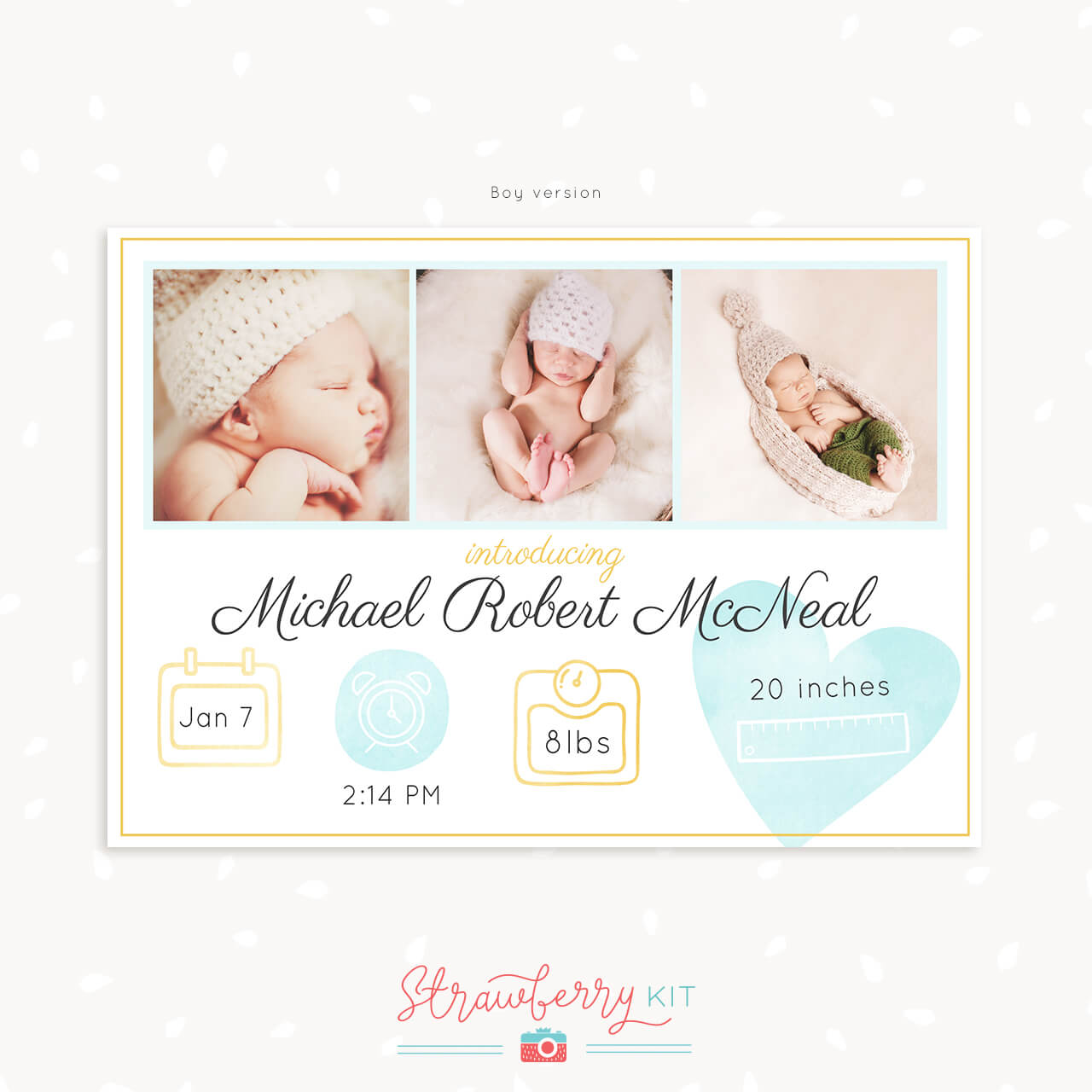 birth announcement with stats and photos strawberry kit