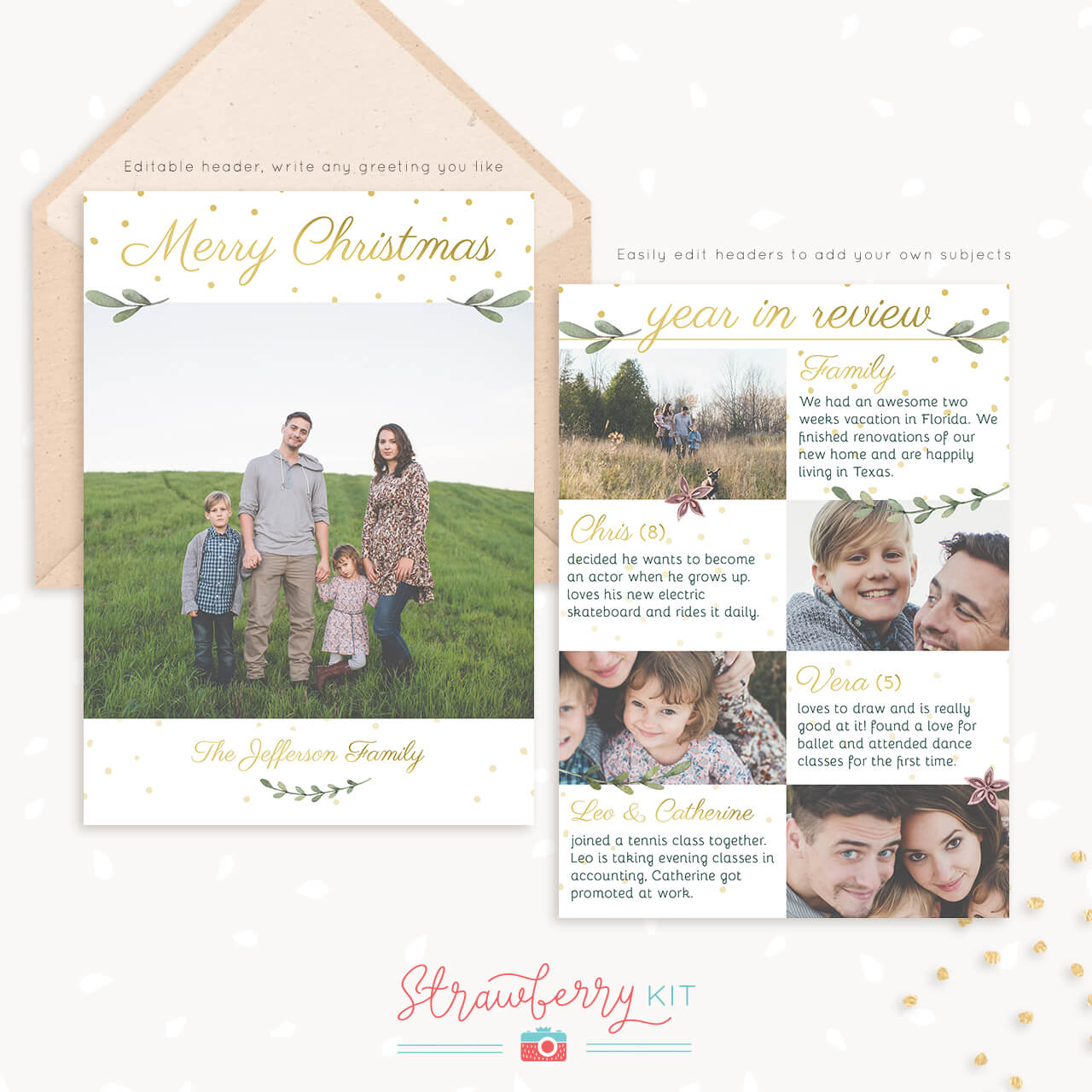 Year In Review Christmas Card Template Leafs Sparkles