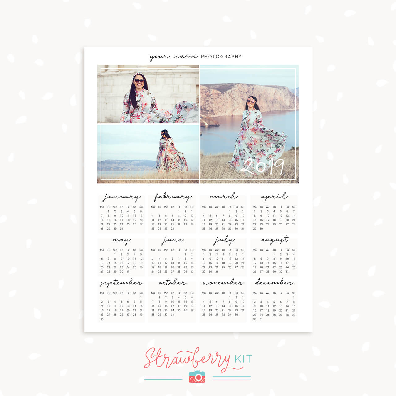 2019 Photography Collage Calendar Template Strawberry Kit