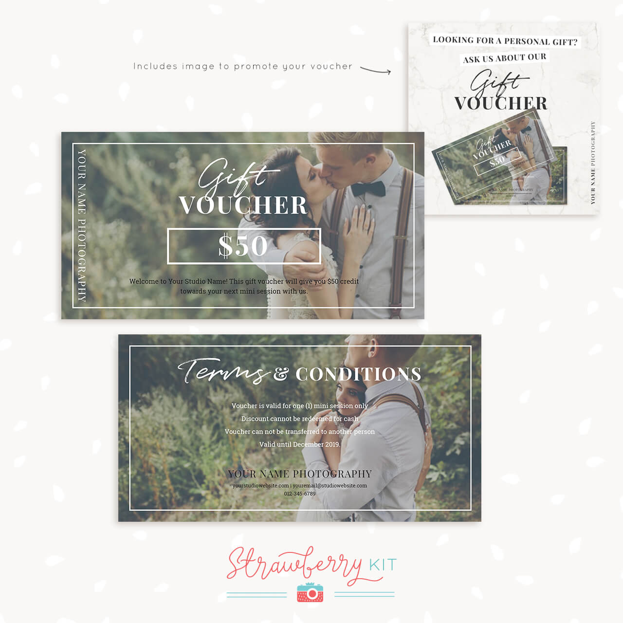 Photography Gift Voucher Template Strawberry Kit