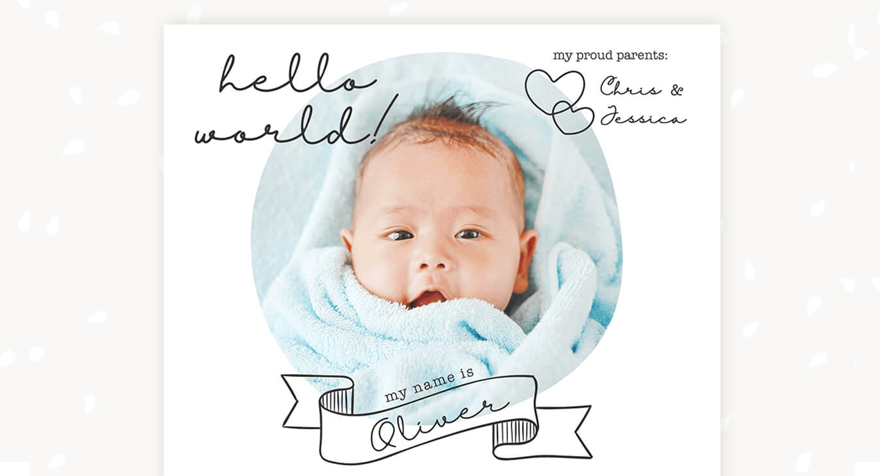 Birth announcements template category
