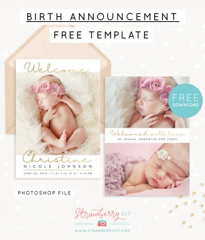 Free Birth Announcement Template Photoshop