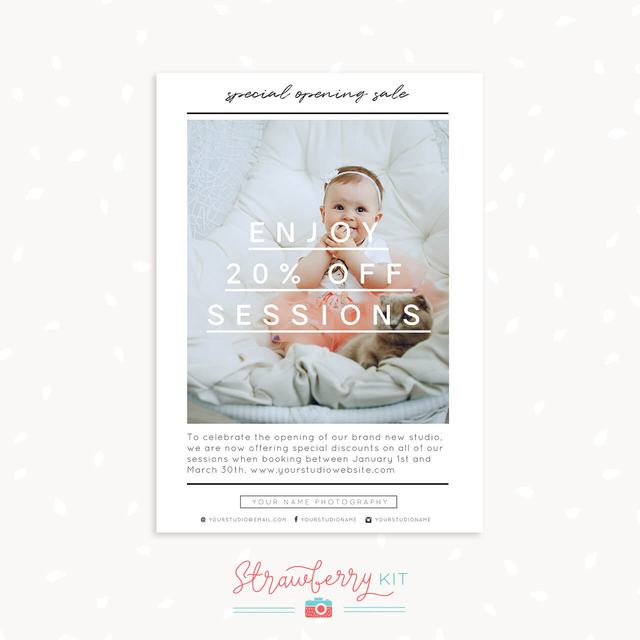 sale flyer template strawberry kit