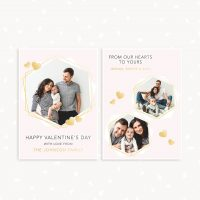 Valentines Day Card Photoshop Template Gold Geometric