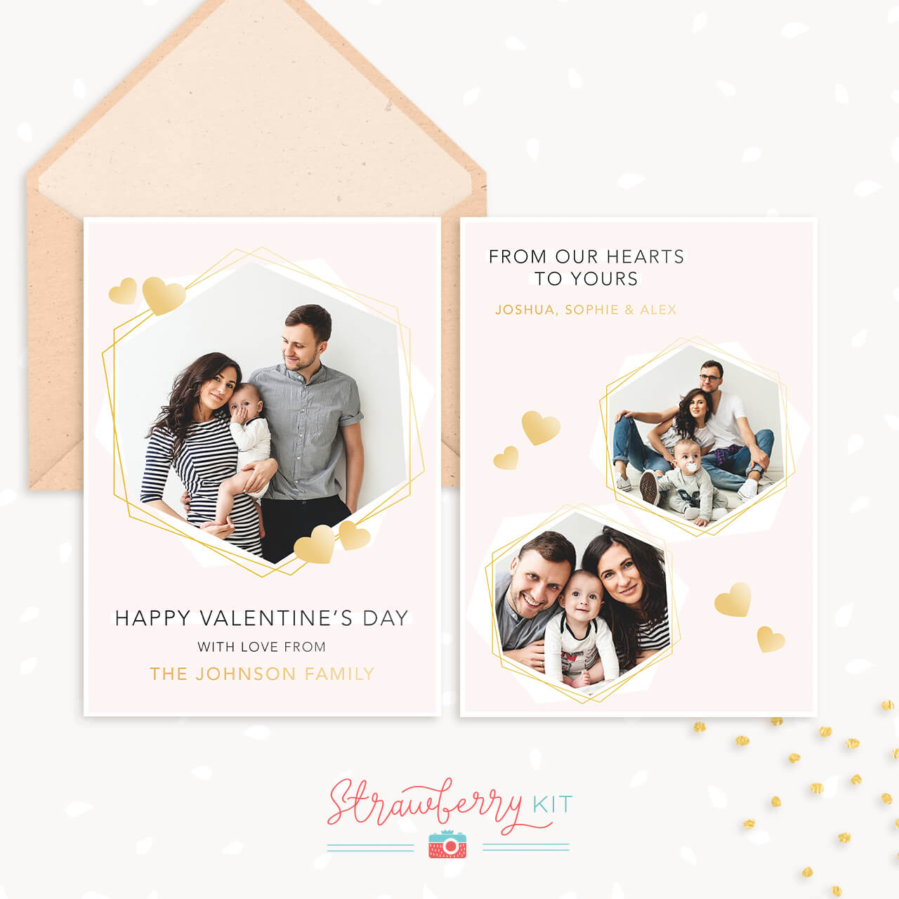 Personalized Valentine S Day Card Template With Photo Strawberry Kit