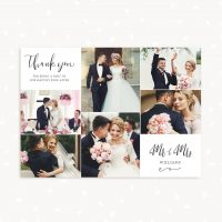 Calligraphy Wedding Thank You Card Template