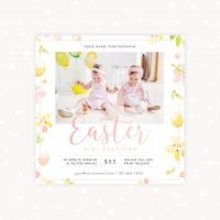 Easter Mini Sessions Template Floral Watercolor