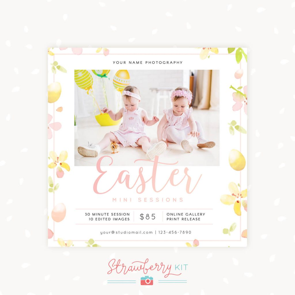 Easter Mini Sessions Template Floral Watercolor Square