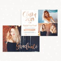 Rose Gold Marble Graduation Invitation Template