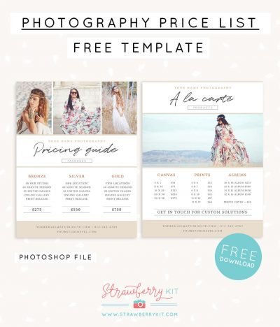 Photographer price list template free