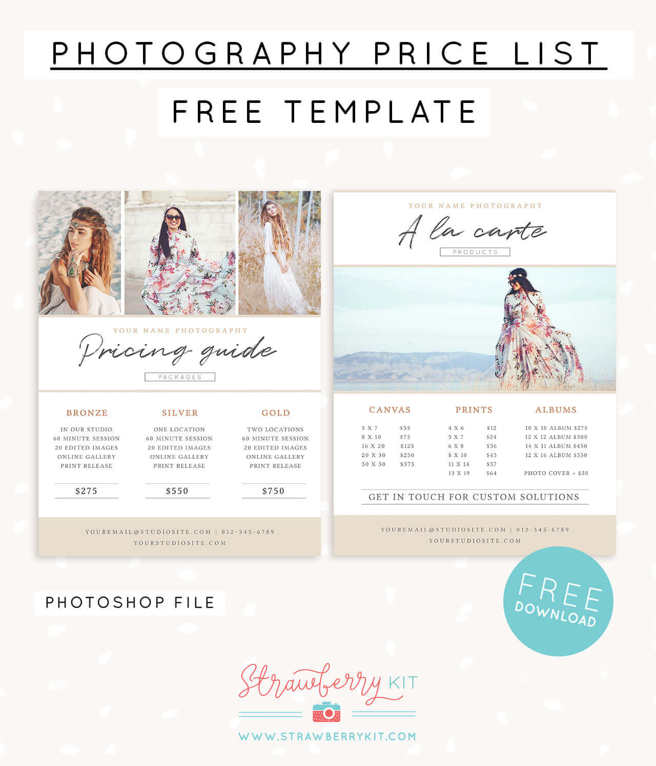 Photographer price list template (FREE!) – Strawberry Kit