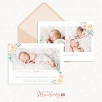 Birth Announcement Template Vintage Floral