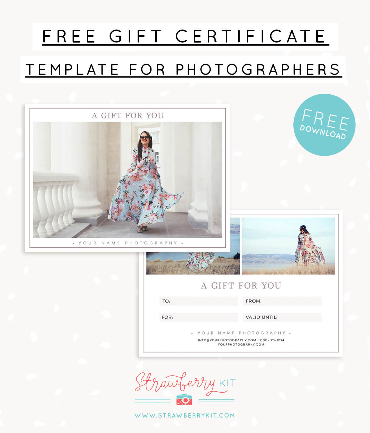Free gift certificate template for photography – Strawberry Kit With Regard To Free Photography Gift Certificate Template