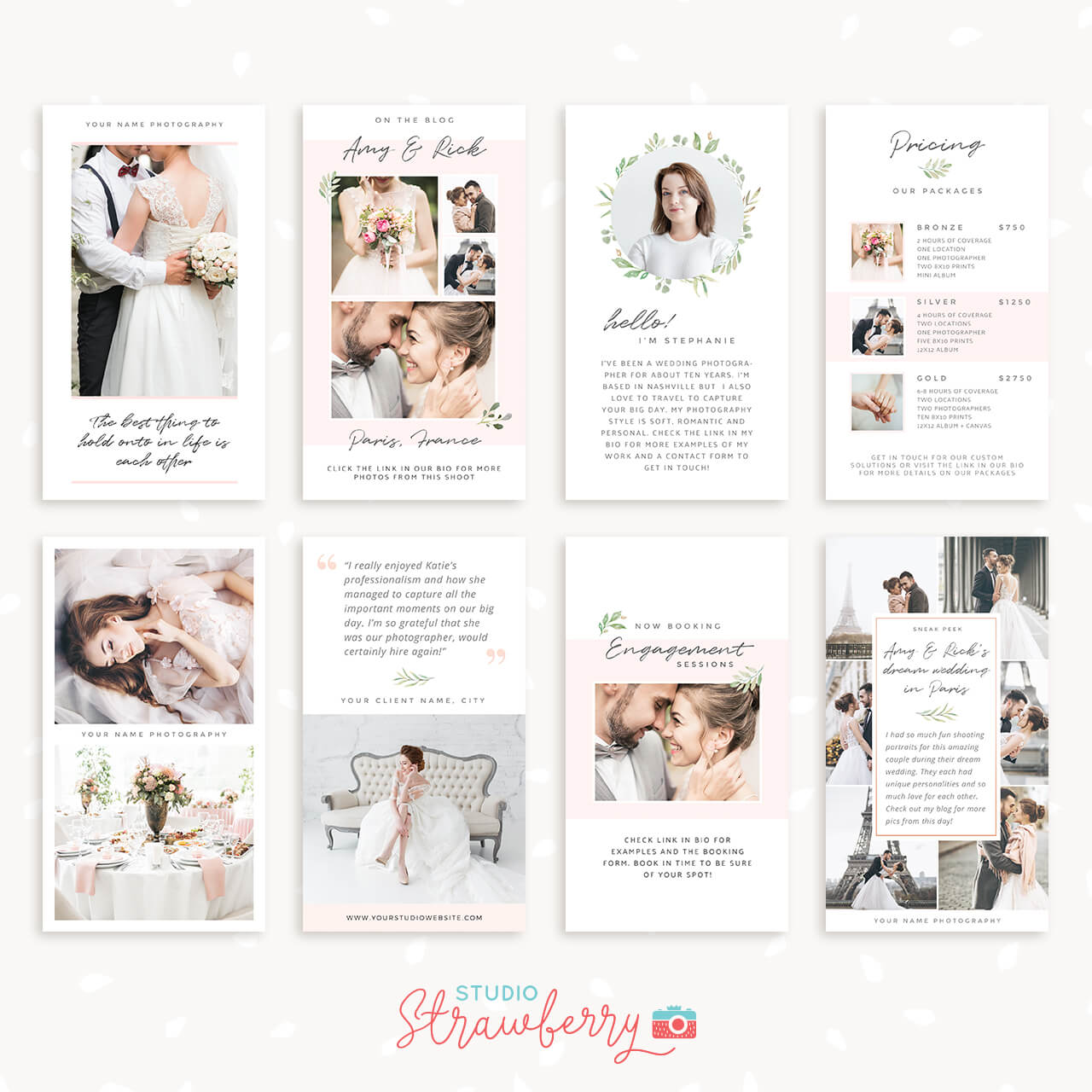 Wedding instagram stories template mock-up | free psd file.