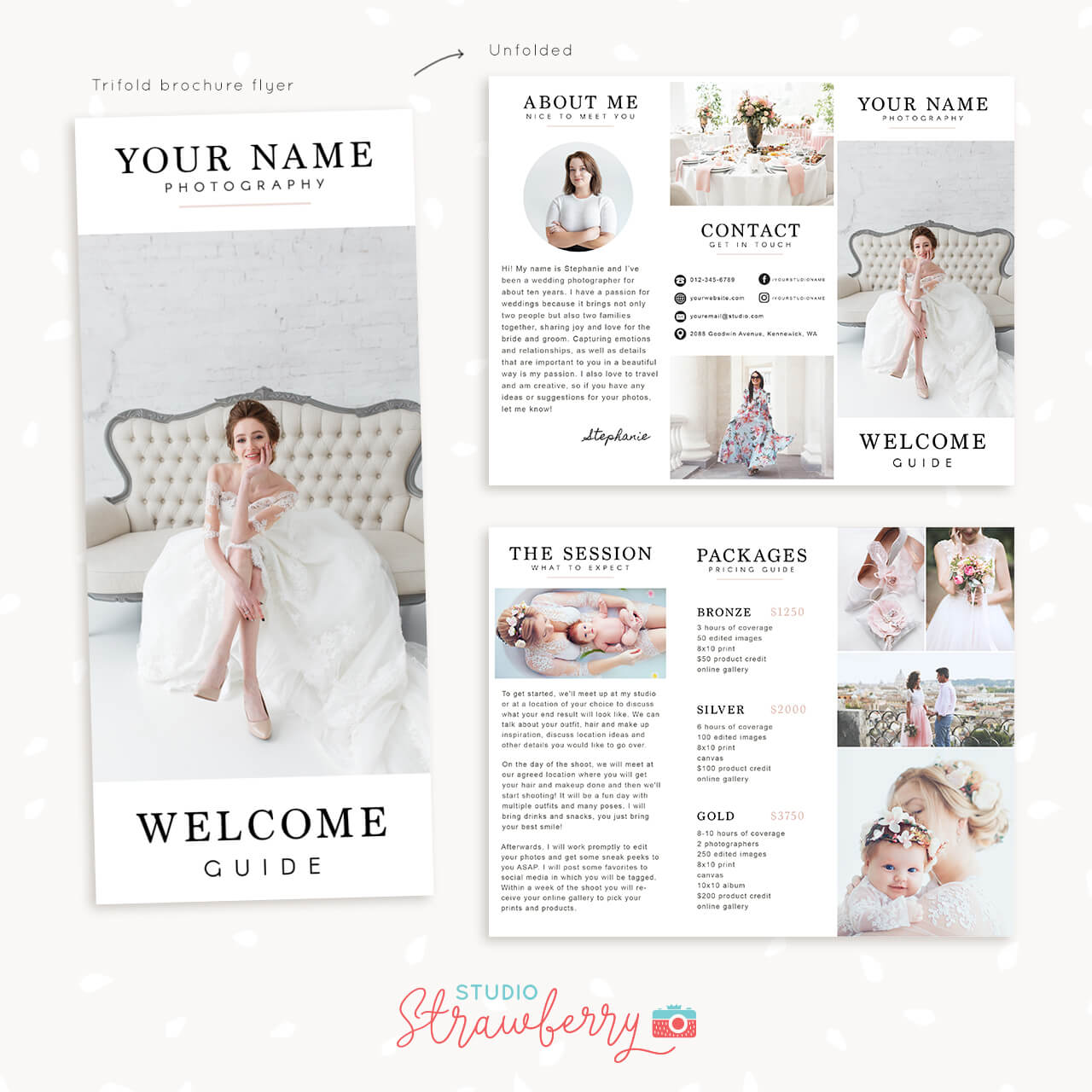 Trifold brochure template for photographers - Strawberry Kit